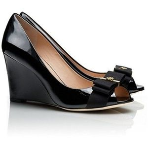 Tory Burch Trudy Black Patent Leather Wedges 7.5